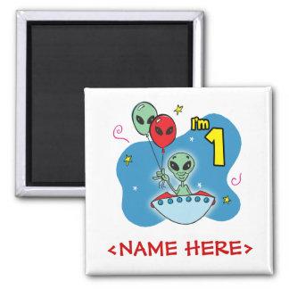 UFO Alien 1st Birthday Square Magnet