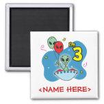UFO Alien 3rd Birthday Fridge Magnets