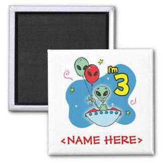 UFO Alien 3rd Birthday Square Magnet