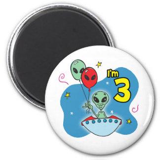 UFO Alien 3rd Birthday 6 Cm Round Magnet