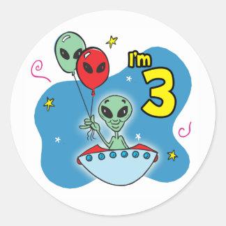 UFO Alien 3rd Birthday Round Stickers