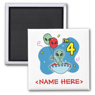 UFO Alien 4th Birthday Square Magnet