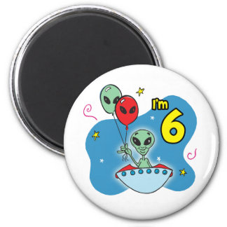 UFO Alien 6th Birthday 6 Cm Round Magnet