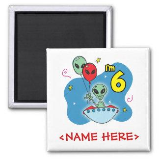 UFO Alien 6th Birthday Square Magnet