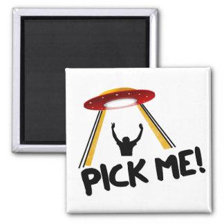 UFO Alien Ship - Pick Me! Square Magnet