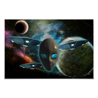 UFO And Alien Poster