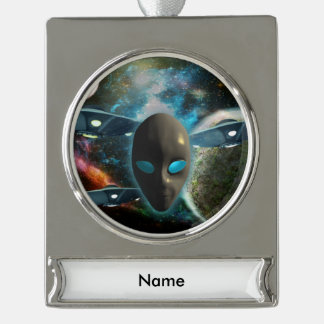 UFO And Alien Silver Plated Banner Ornament