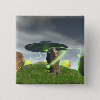 UFO and Ancient Stone Circle Button