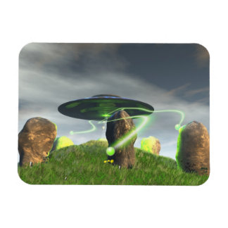UFO and Ancient Stone Circle Rectangular Magnets