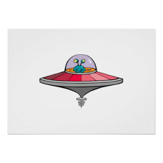 UFO and Space Alien Poster