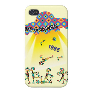 UFO and Zombie Funny Graphic iPhone 4 Case