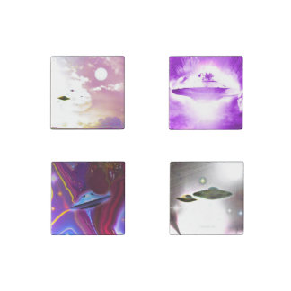 UFO Art Set of Four Stone Magnets Stone Magnet