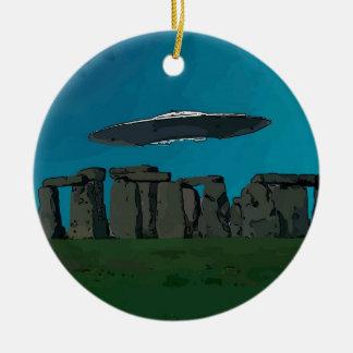 UFO At Stone Henge Round Ceramic Decoration