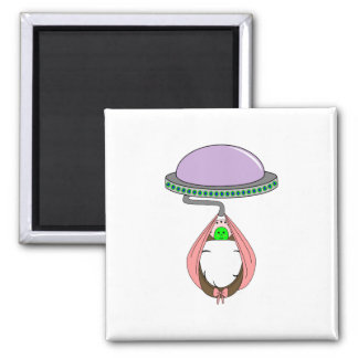 UFO Carrying Baby Pink Fridge Magnets