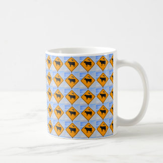 UFO Cattle Crossing Sign in New Mexico Basic White Mug