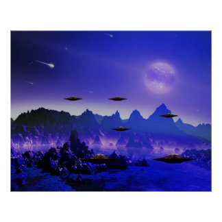 UFO flying object in space Poster
