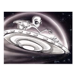 UFO flying Postcard
