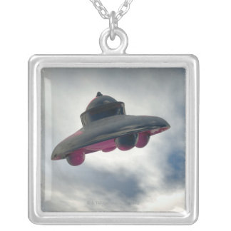 UFO Flying Through Clouds Silver Plated Necklace