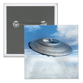 UFO flying through cloudy skies. 15 Cm Square Badge
