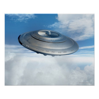 UFO flying through cloudy skies. Poster