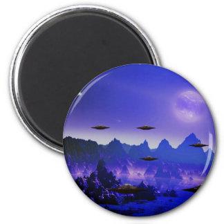 UFO galaxies 6 Cm Round Magnet