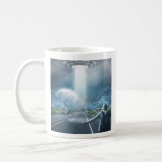 UFO Hitchhiker custom monogram mugs