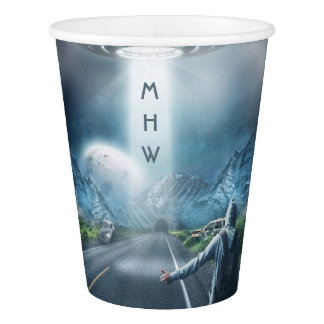 UFO Hitchhiker custom monogram paper cups