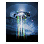UFO hovering above Earth while abducting humans. Poster