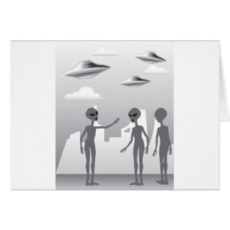 UFO in the sky Aliens On the ground Greeting Card