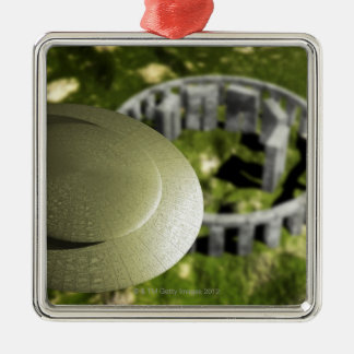 UFO investigating the site of Stonehenge as it Christmas Ornament