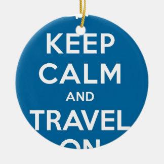UFO Keep Calm And Travel On Round Ceramic Decoration