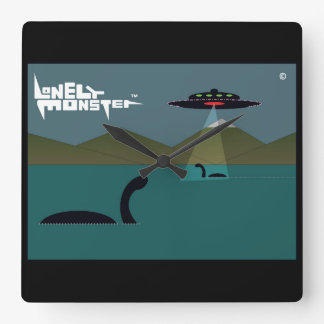 UFO Lonely Monster Square Wall Clock