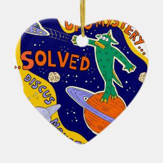 ufo mystery solved ceramic heart decoration