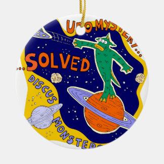 ufo mystery solved round ceramic decoration