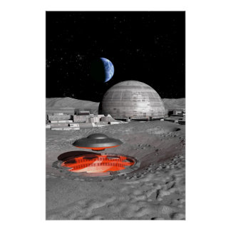 UFO on the moon Poster
