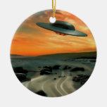 UFO Over Coast Round Ceramic Decoration