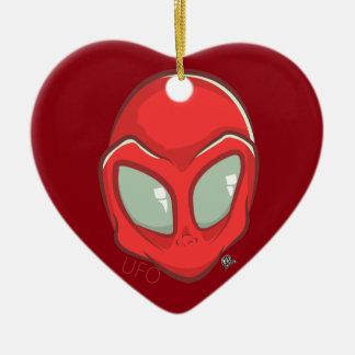 UFO Red Galactic Martian Alien Head Ceramic Heart Decoration