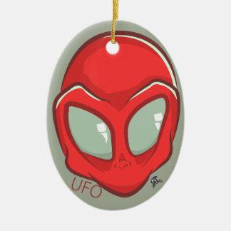 UFO Red Galactic Martian Alien Head Ceramic Oval Decoration