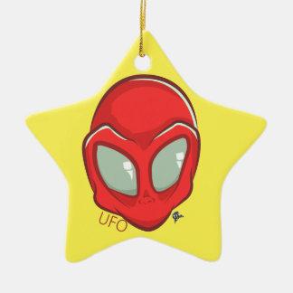 UFO Red Galactic Martian Alien Head Ceramic Star Decoration