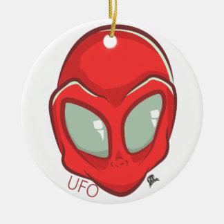UFO Red Galactic Martian Alien Head Round Ceramic Decoration