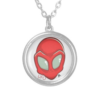 UFO Red Galactic Martian Alien Head Silver Plated Necklace