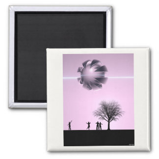 UFO Sighting Square Magnet