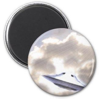 UFO Silver Beamship Magnet