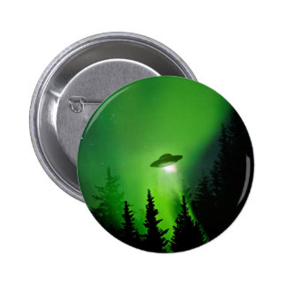 UFO with Northern Lights 6 Cm Round Badge