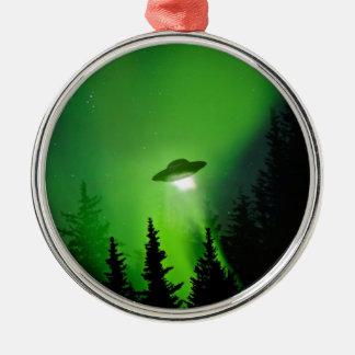 UFO with Northern Lights Christmas Ornament