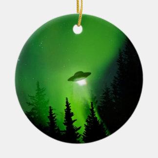 UFO with Northern Lights Round Ceramic Decoration