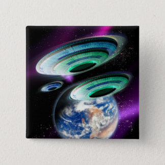 UFOs 15 Cm Square Badge