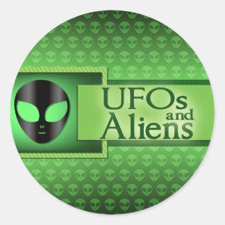 UFOs and Aliens Genre Book CoverRound Stickers