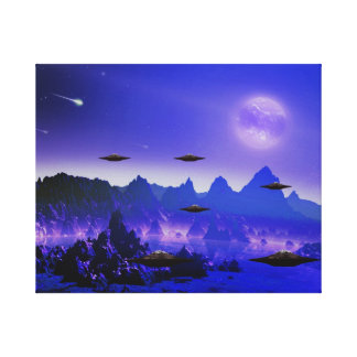 UFOs in the galaxy Stretched Canvas Print