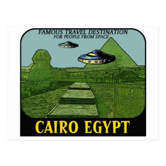 UFO'S OVER CAIRO EGYPT TRAVEL DESIGN POSTCARD